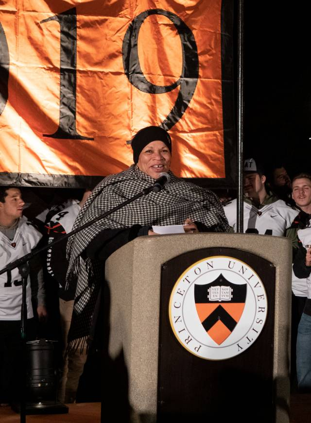 Rochelle Calhoun congratulates the Princeton football team