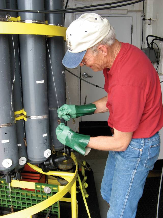 Robert Key adjusts instruments aboard research vessel