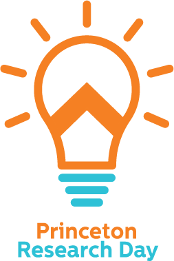 "logo with a lightbulb and chevron, ""Princeton Research Day"""