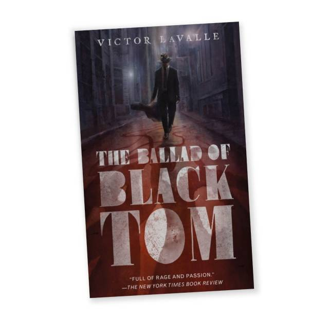 """Book cover of """"The Ballad of Black Tom"""" by Victor La Valle depicting a shadowy man walking down a dark street"""
