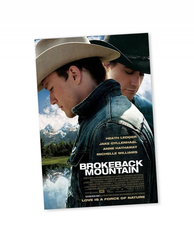 """Movie poster of """"Brokeback Mountain"""" with profiles of 2 cowboys"""