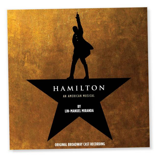 """Cover of soundtrack to """"Hamilton"""" the musical with a silhouette of a man with one armed raised standing on a star"""