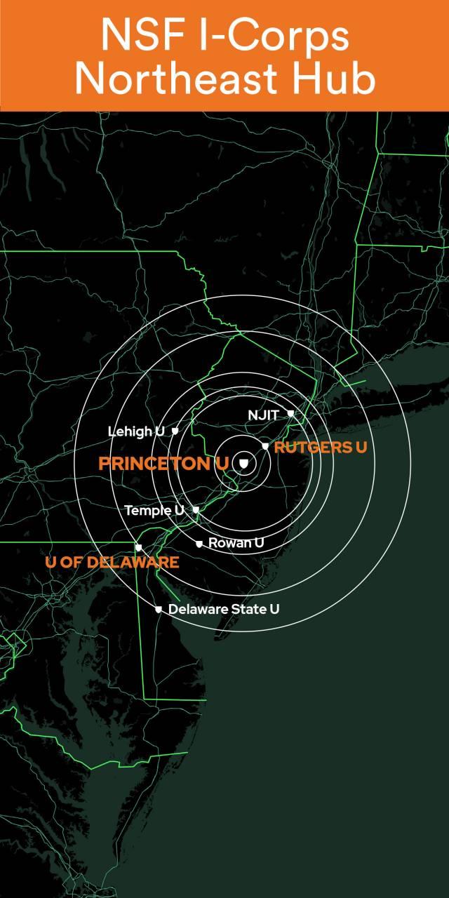 Map with NJIT, Lehigh U, Rutgers U, Princeton U, Temple U, Rowan U, U of Delaware, Delaware State U