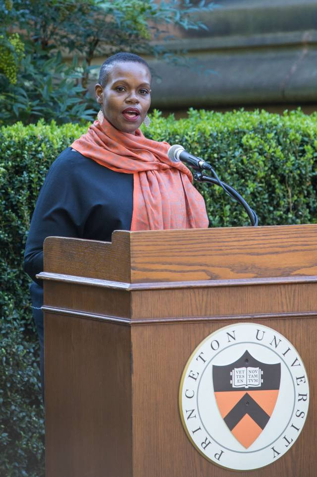 The Rev. Theresa Thames speaks at the podium