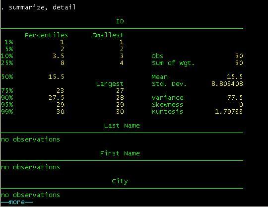 Descriptive Statistics Excelstata